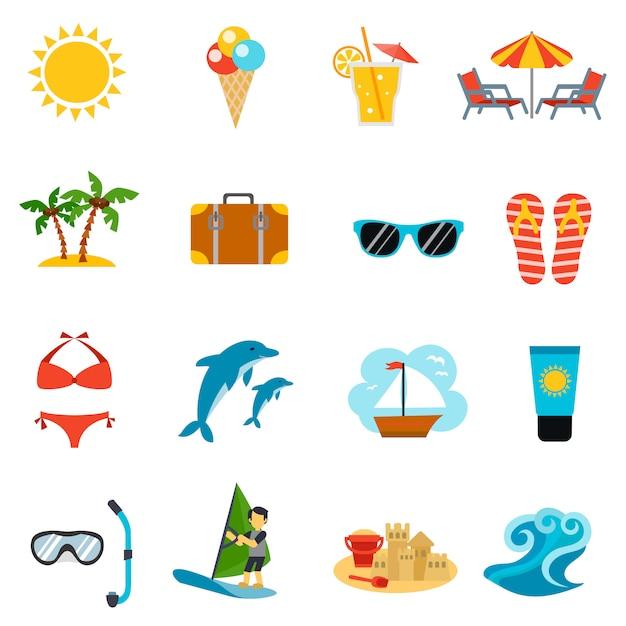 Летние иконы set Бесплатные векторы