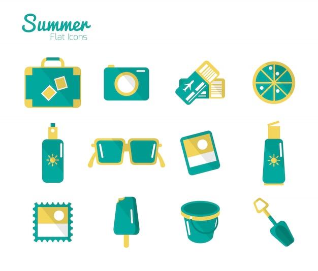 Summer icons set Premium Vector