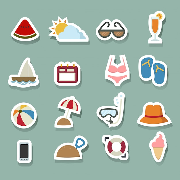 Summer icons set Premium Vector
