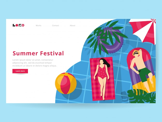 Summer illustration for landing page Premium Vector