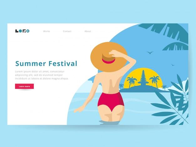 Summer illustration for landing page Premium Vector