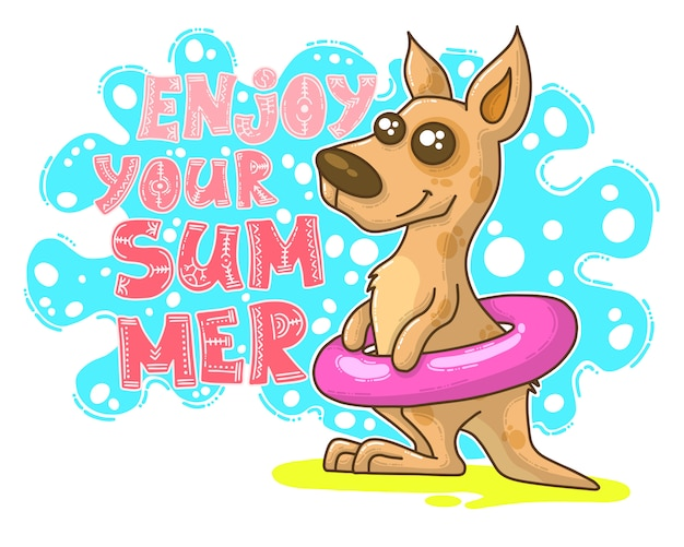 Summer illustration with kangaroo Premium Vector