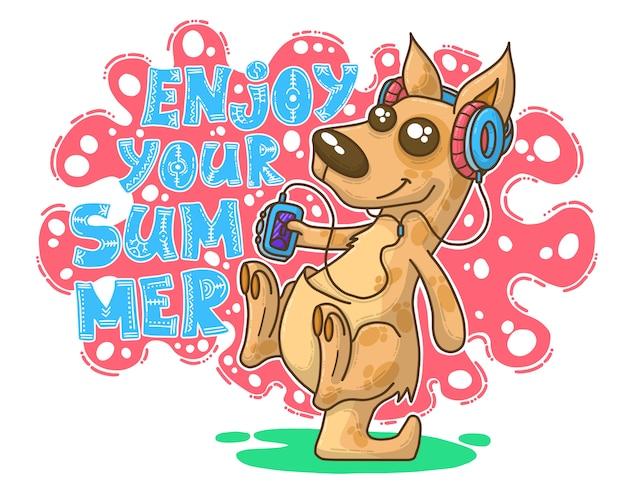 Summer illustration with kangaroo Premium Vector