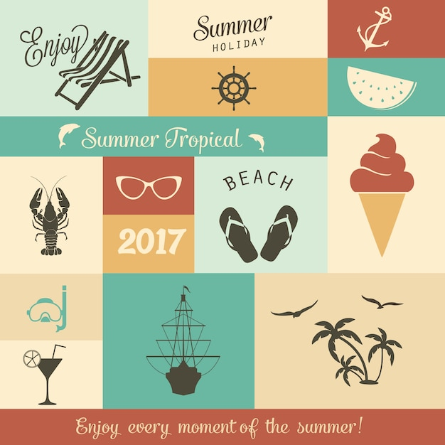 Summer Illustrations Collection Vector