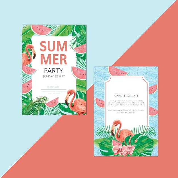 Summer invitation card holiday party on the beach sea sunshine Free Vector