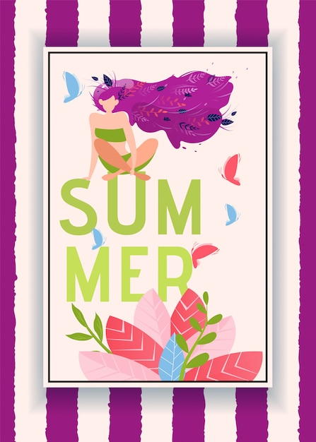 Summer invitation card with attractive girl Premium Vector