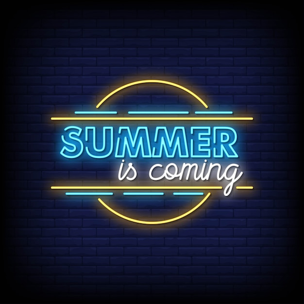 Summer is coming neon signs style text vector Premium Vector