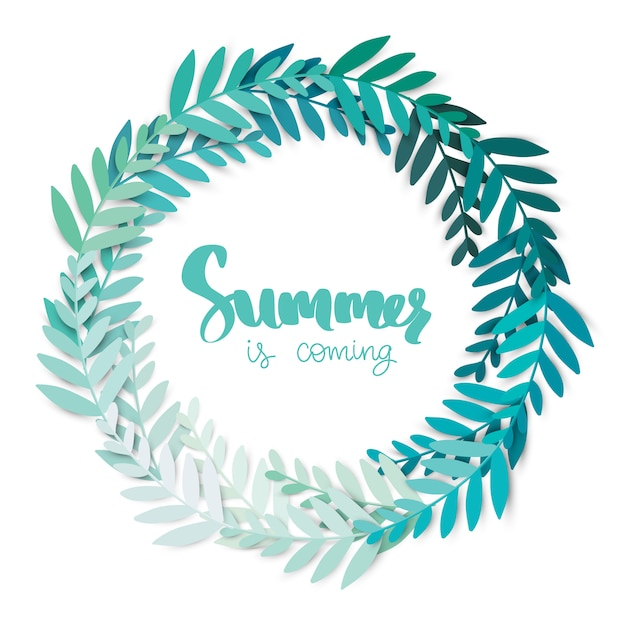 Summer is coming. round frame with leaves. vector digital craft. Premium Vector