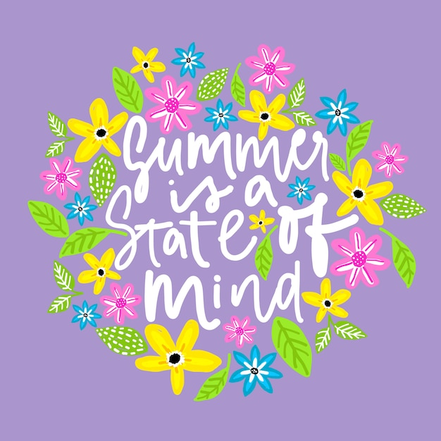 Summer is a state of mind. handdrawn illustration. Premium Vector