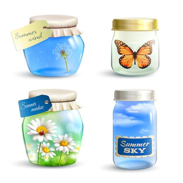 Summer jar set Free Vector
