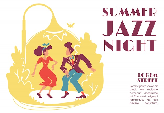 Summer jazz night banner   template. retro style outdoor party. 50s rock n roll disco. brochure, poster concept design with cartoon characters. horizontal flyer, leaflet with place for text Premium Vector