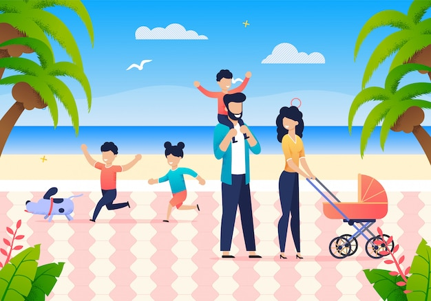 Summer joint family vacation on ocean Premium Vector
