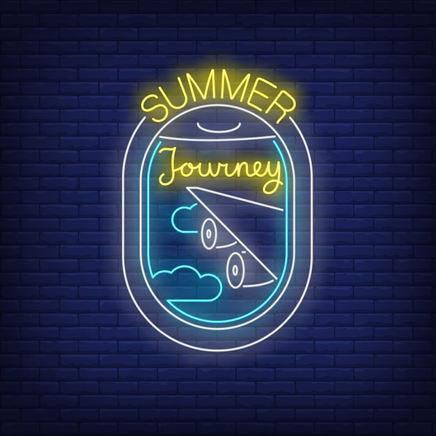Summer journey neon lettering and airplane window view Free Vector