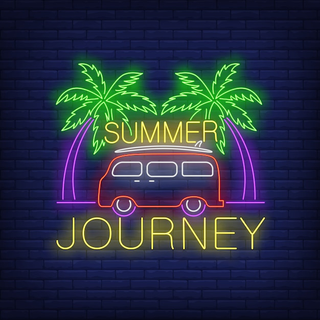 Summer journey neon lettering, minivan and palm trees Free Vector
