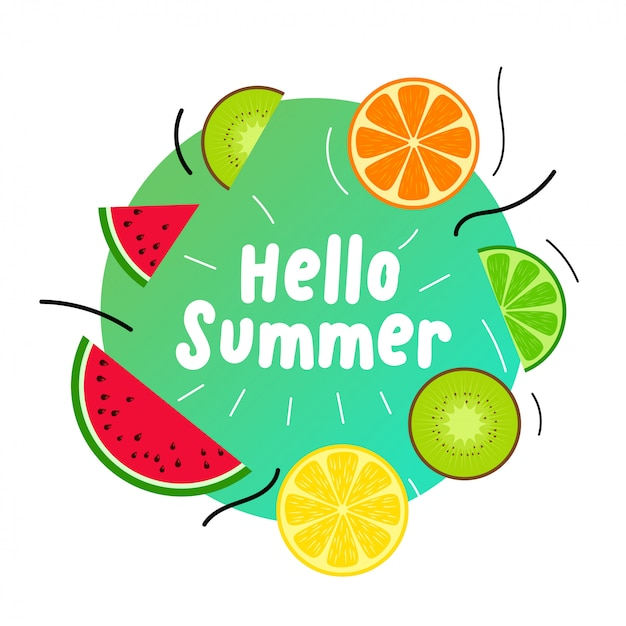 Summer juicy fruits background Free Vector