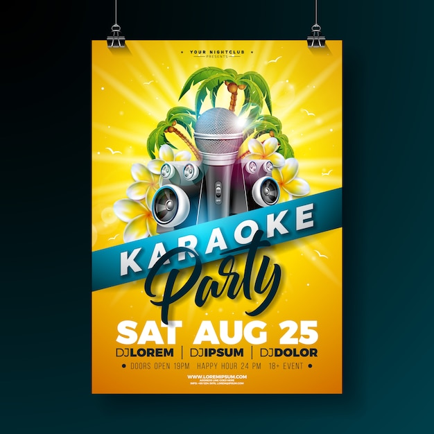Summer karaoke party poster template design with flower and microphone Premium Vector