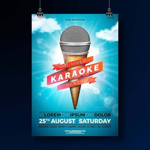 Summer karaoke party poster template design with microphone Premium Vector