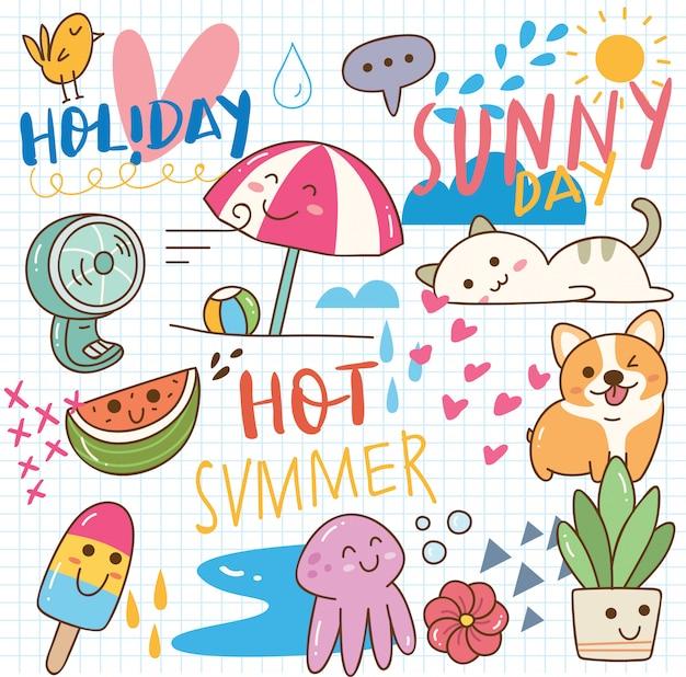 Summer kawaii doodle Premium Vector