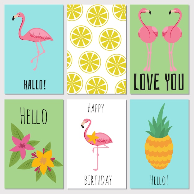 Summer kids cards with tropical fruits, plants and flamingos Premium Vector