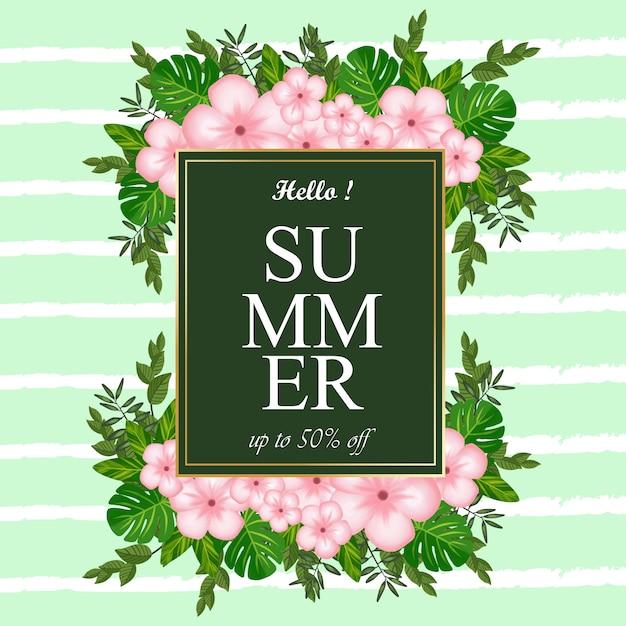 꽃과 열대 단풍 여름 레이블 추상적 인 배경 프리미엄 벡터