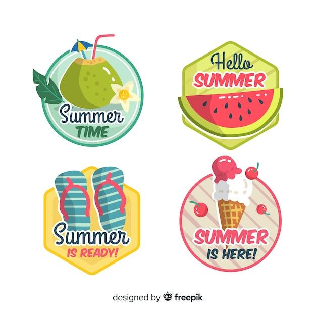 Summer label collectio Free Vector