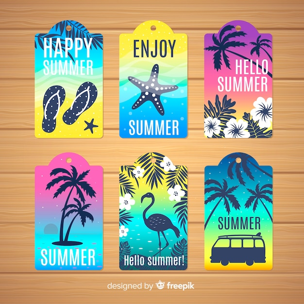 Summer label collectio Free Vector