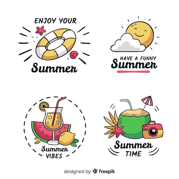 Summer label collection Free Vector