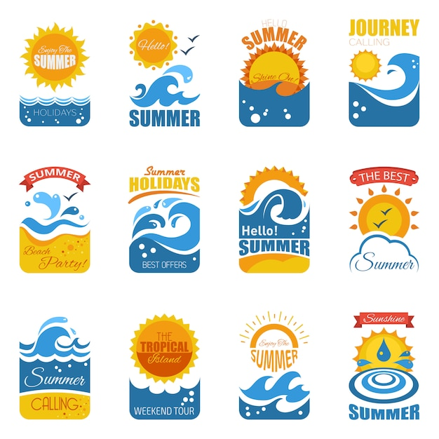 Summer label set with wave and sun Free Vector