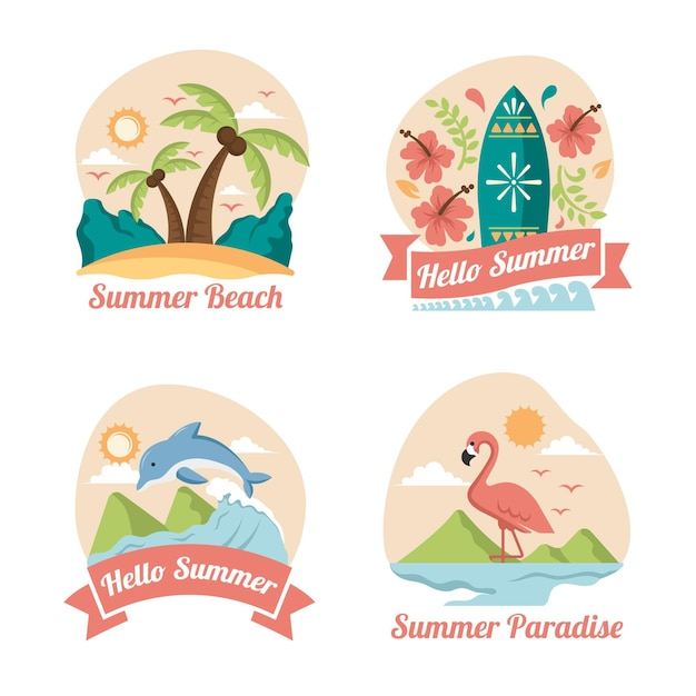 Summer labels in flat design Free Vector