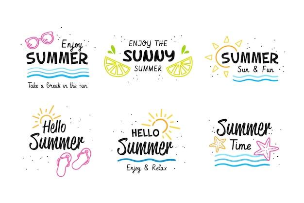 Набор летних этикеток Бесплатные векторы