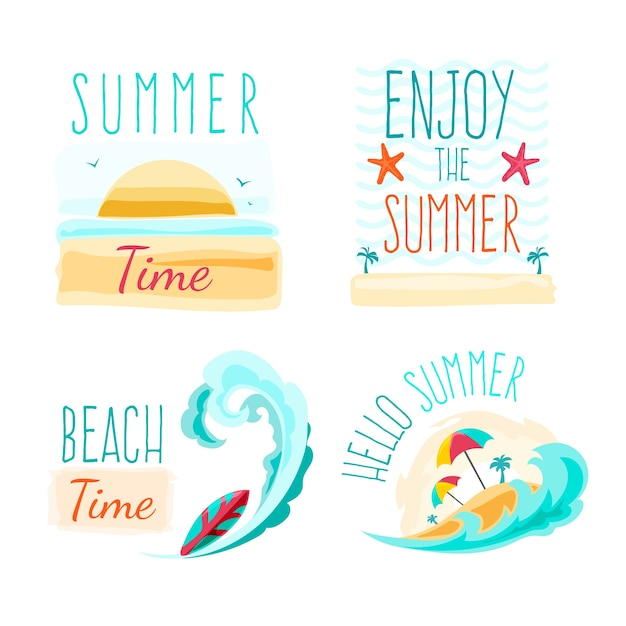 Summer labels with beach Free Vector