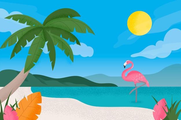 ズームの概念の夏の風景の背景 無料ベクター