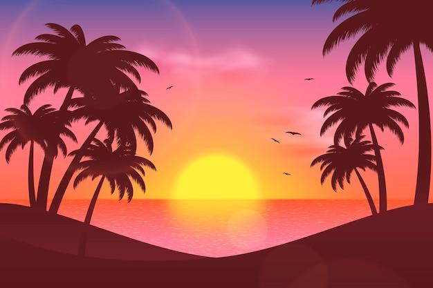 확대 / 축소 여름 풍경 배경 무료 벡터