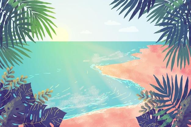 夏の風景-ズームの背景 Premiumベクター