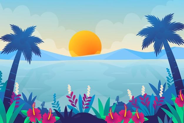 ズームの夏の風景の背景 Premiumベクター
