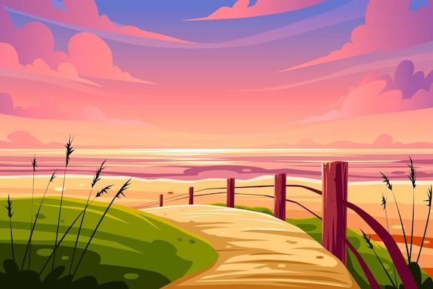 ズームの夏の風景の背景 無料ベクター