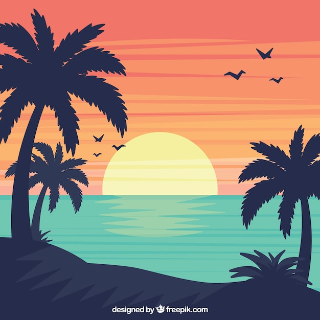Summer landscape background in flat design Free Vector