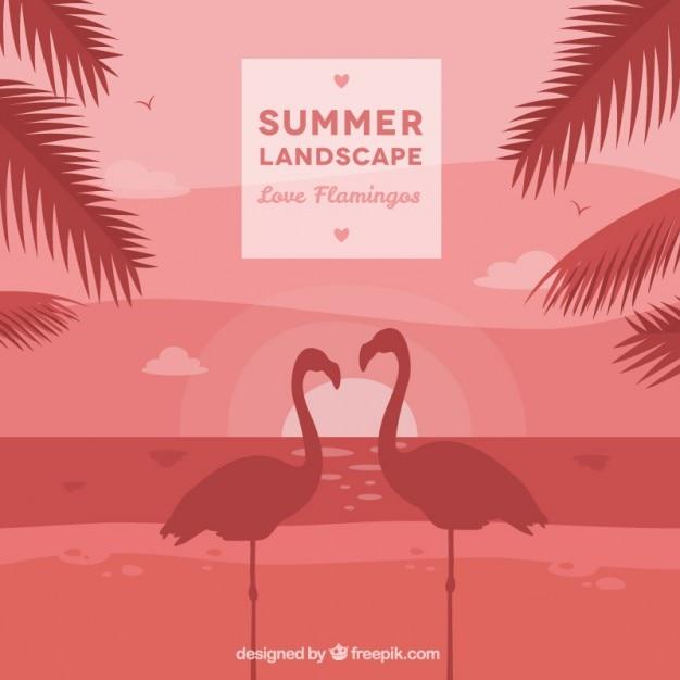 Summer landscape background with flamingos\ couple