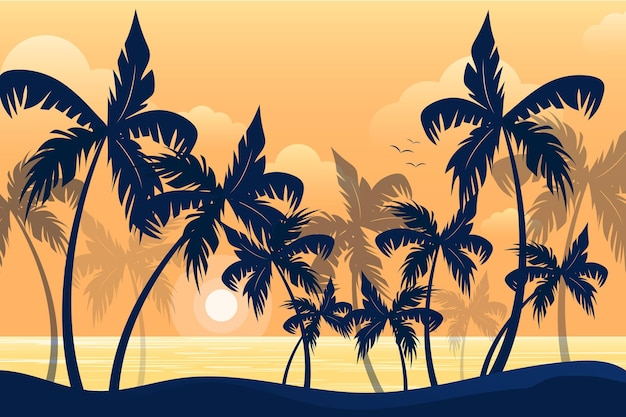 Summer landscape background for zoom with palm tree silhouettes Free Vector