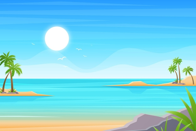Summer landscape background for zoom Free Vector