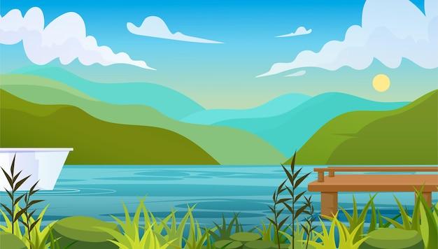 夏の風景の背景 Premiumベクター