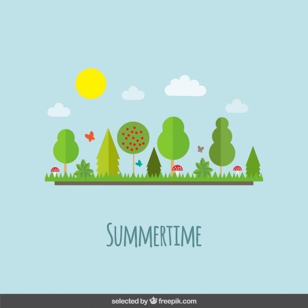 Summer landscape in flat design style Free Vector