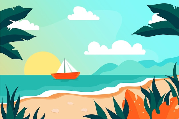 ズームのための夏の風景 無料ベクター