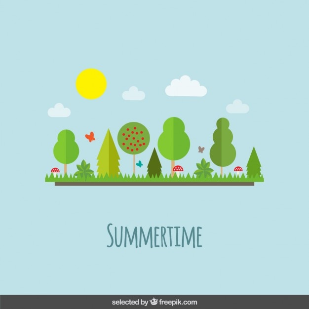 summer landscape in flat design style vector free download