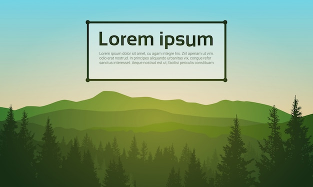 Summer landscape mountain forest sky woods Premium Vector