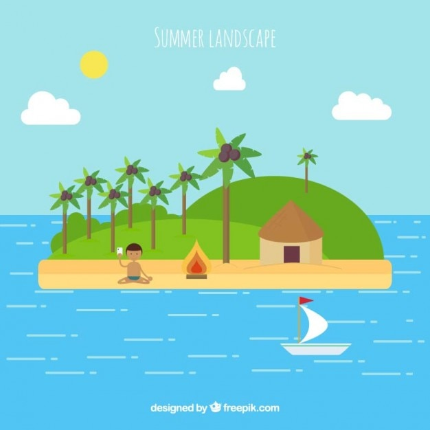 Summer landscape of island in flat\ design