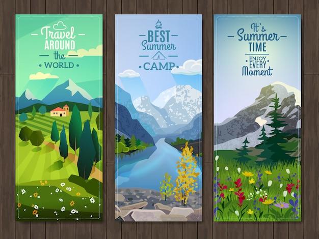 Summer landscape vertical banners set Free Vector