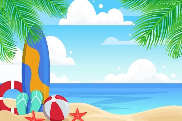 ズームテーマの夏の風景の壁紙 無料ベクター