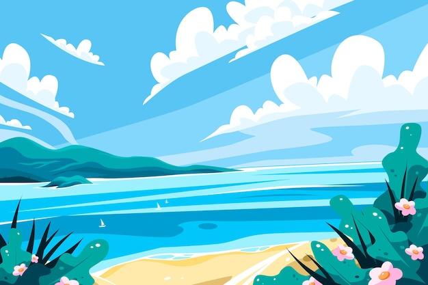 ビーチのある夏の風景 無料ベクター
