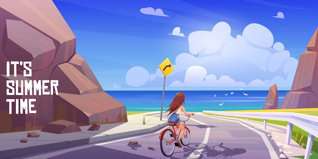 Summer landscape with girl on bike and sea Free Vector